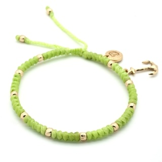Woven Adjustable Lime Anklet with Gold Anchor Charms