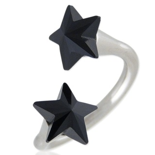 Star Struck Jet Swarovski Ring