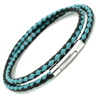 Turquoise & Brown Woven Double Wrap Bracelet