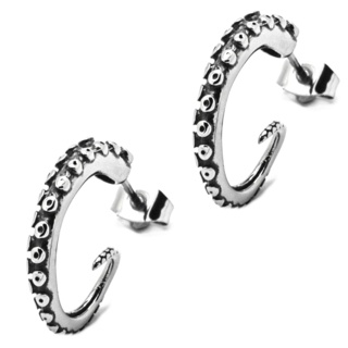 Stainless Steel Kraken Tentacle Hoop Earrings