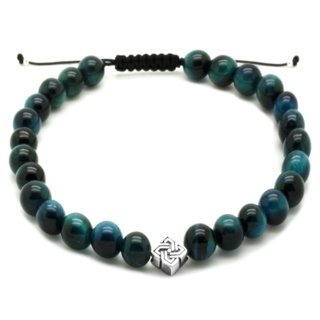 Honey Blue Tigers Eye Beaded Silver Bracelet