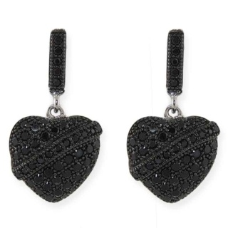 Baroque Silver Pave Crystal Heart Earrings