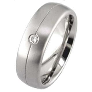 Dome Profile Diamond Titanium Wedding Ring
