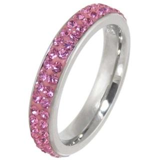 Illuminate Rose Crystal Steel Ring