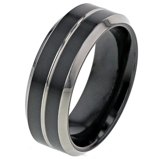 Flat Profile Two Tone Black Zirconium Wedding Ring