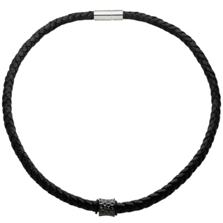 Woven Black Leather Necklace with a Black Concave Indented Titanium Bead