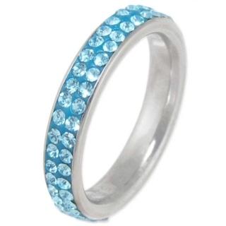 Illuminate Aqua Crystal Steel Ring