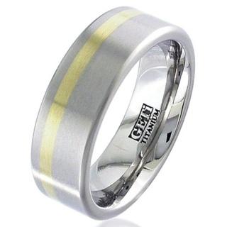 Flat Profile Gold Inlaid Titanium Wedding Ring