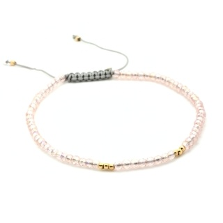 Handmade Pink Faceted Crystal Adjustable Bracelet