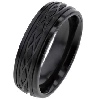 Black Celtic Zirconium Ring