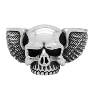 Winged 925 Silver Skull Ring