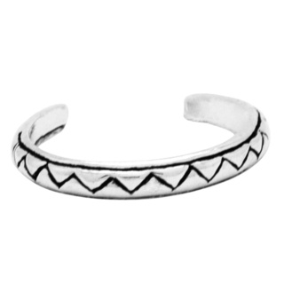 Polished 925 Silver Zigzag Design Toe Ring