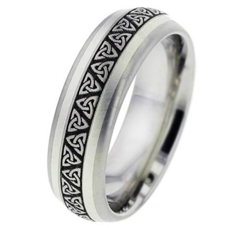 White Gold Inlaid Titanium Ring with Trinity Knot Pattern