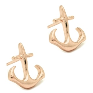 Rose Gold Anchor Stud Earrings