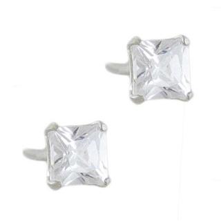 4mm Silver Cubic Zirconia Princess Cut Earrings