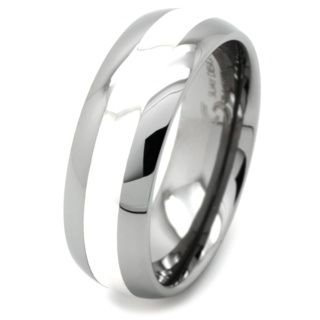 Dome Tungsten Ring with Silver Inlay