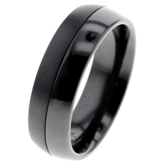 Two-tone Black Zirconium Ring
