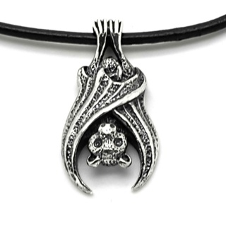Silver Bat Leather Necklace