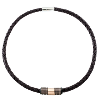 Woven 6mm Brown Leather Necklace with Titanium Beads
