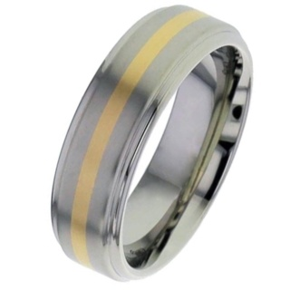 Titanium Wedding Ring with Rose Gold Inlay