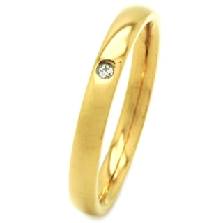 Gold Coloured Stainless Steel Cubic Zirconia Ring