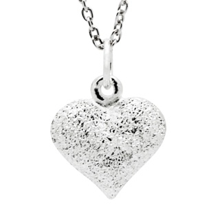 Diamond Cut Silver Heart Necklace