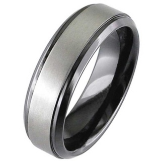 Two Tone Zirconium Wedding Ring