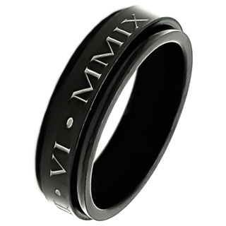 Personalised Black Ring with Roman Numerals