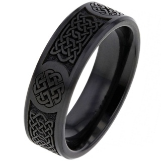 Black Celtic Zirconium Ring