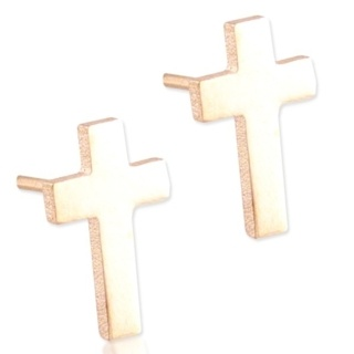 Steel Rose Cross Earrings