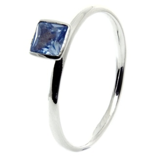 Silver Stacking Ring with Aquamarine