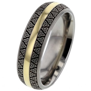 Celtic Titanium Ring with Yellow Gold Inlay