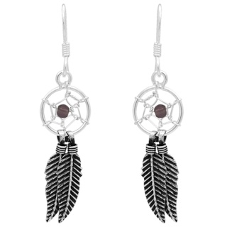925 Silver & Amethyst Dreamcatcher Earrings