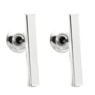 Silver Plated Polished Bar Stud Earrings