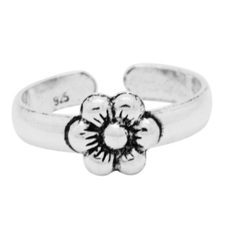Polished 925 Silver Daisy Toe Ring