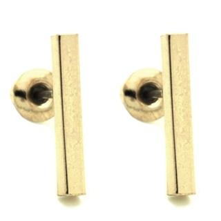 Gold Polished Bar Stud Earrings