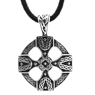 Stainless Steel Circular Celtic Leather Necklace