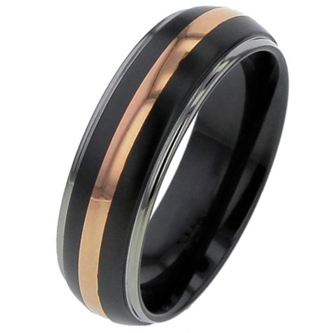 Domed Zirconium Wedding Ring with Rose Gold Inlay Inlaid Rings