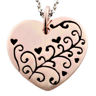 Polished Rose Gold Heart with Floral Design Charm Necklace