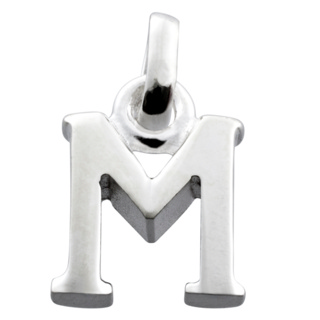 Polished Silver Letter M Charm