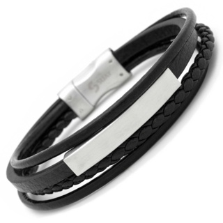 Black Leather Bracelet Steel Clasp