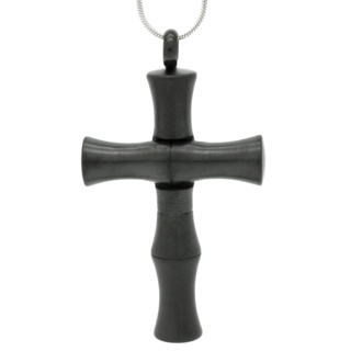 Black Stainless Steel Cross with Secret Chamber and Spoon