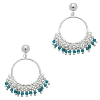 925 Silver Hoops with Blue Apatite Crystals