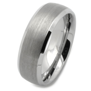 8mm Tungsten Carbide Wedding Band Ring with Bevelled Shoulders