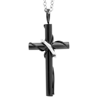 Black Stainless Steel Cross with Ring