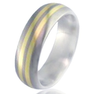 Gold Inlaid Titanium Wedding Ring