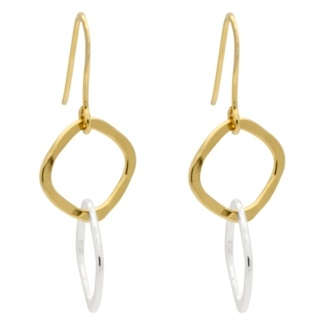 Gold & Silver Interlinking Square Drop Earrings