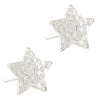 Silver Sparkly Star Earrings