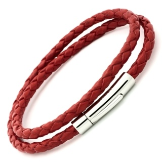 Red Bolo Leather Double Wrap Bracelet