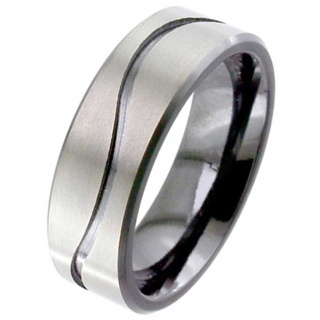Flat Profile Zirconium Wave Wedding Ring
